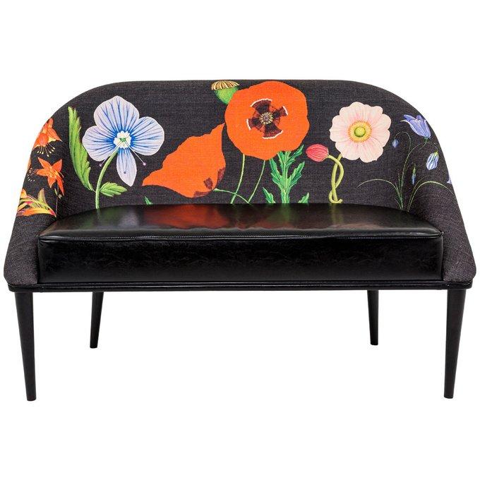 Диван Ночной сад / Нуар с цветочным принтом