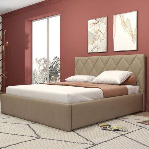 Кровать Миа бежевого цвета с подъемным ортопедическим основанием и дном 160х200