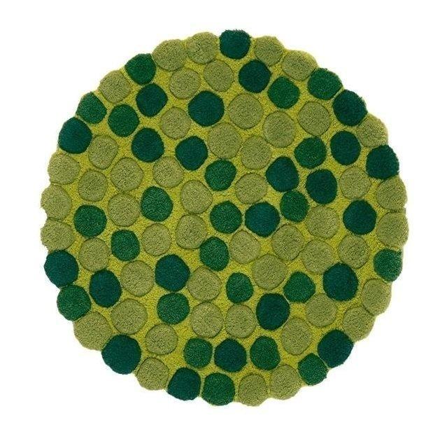 Круглый ковер Adok зеленого цвета 200 см
