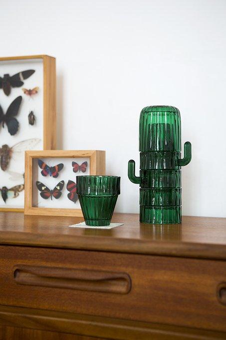 Набор из 6-ти стеклянных стаканов saguaro зеленый