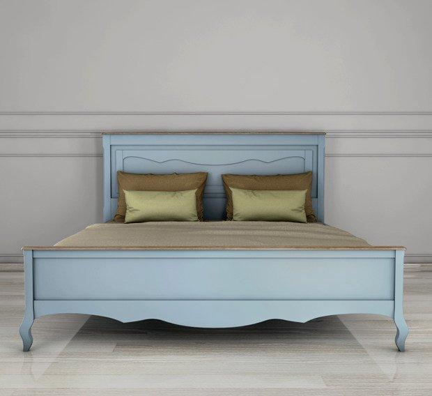 """Голубая двуспальная кровать """"Leontina"""" 180х200"""