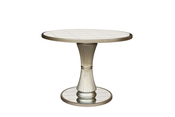 Круглый обеденный стол с зеркальным покрытием