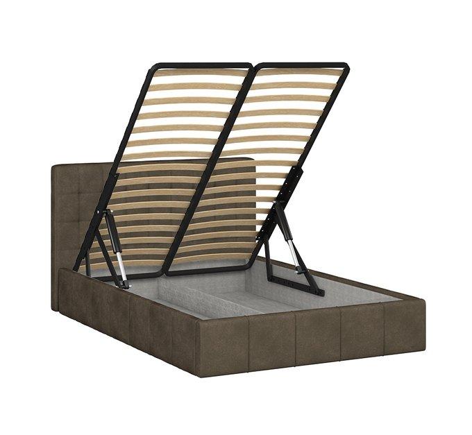 Кровать Инуа 140х200 темно-коричневого цвета с подъемным механизмом