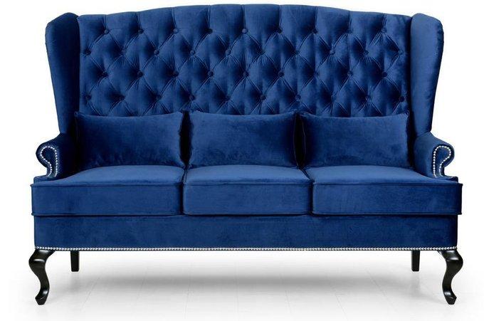 Диван прямой с ушами Abigail дизайн 2 синего цвета