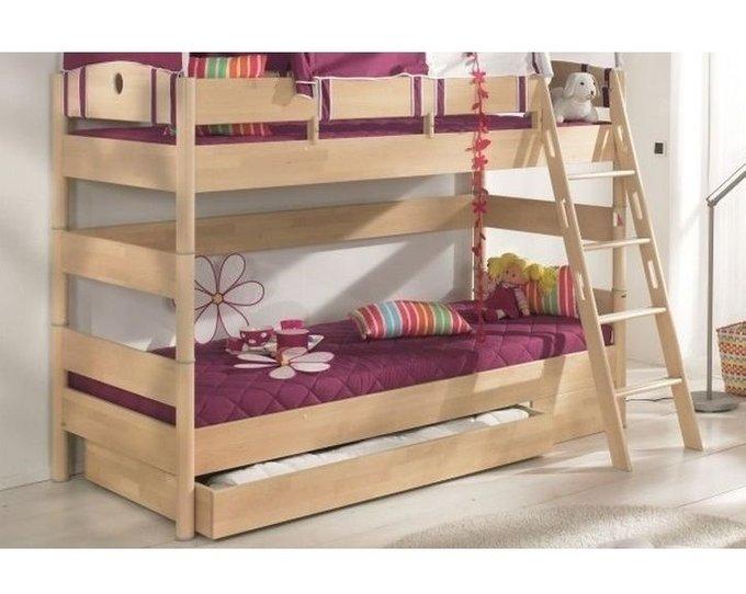 Двухъярусная кровать Fleximo с наклонной лестницей