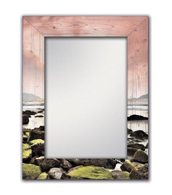 Настенное зеркало Морской закат в раме из натурального дерева 75х110