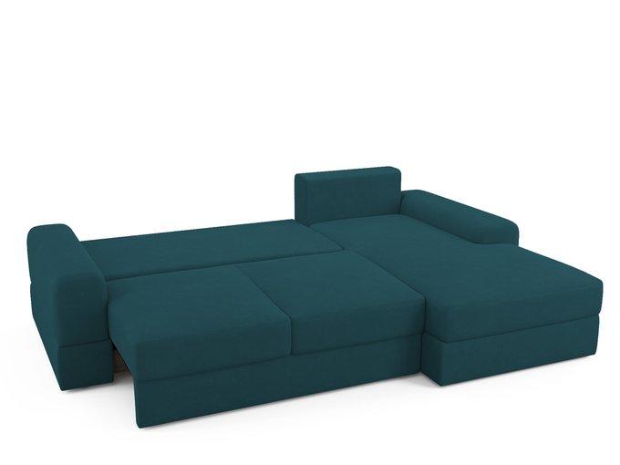 Угловой диван-кровать Elke сине-зеленого цвета