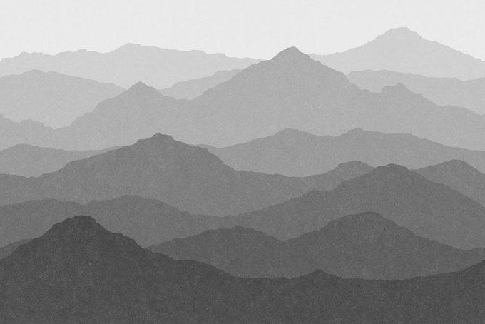 Дизайнерские обои Only mountains above you monochrome