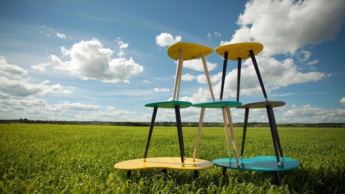Приставной столик Капля с желтой столешницей