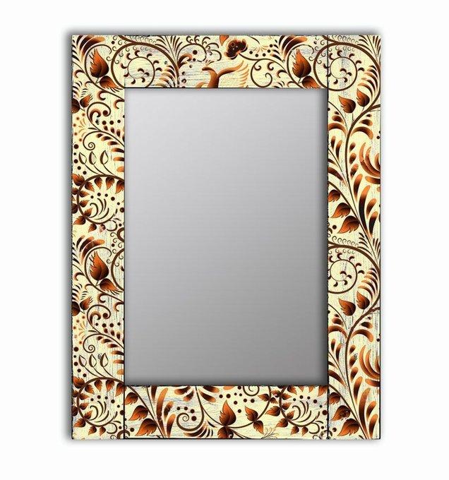Настенное зеркало Золотая роспись в раме из массива сосны 65х65