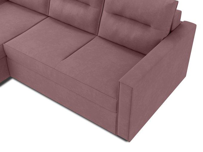 Угловой диван-кровать левый Macao темно-розового цвета