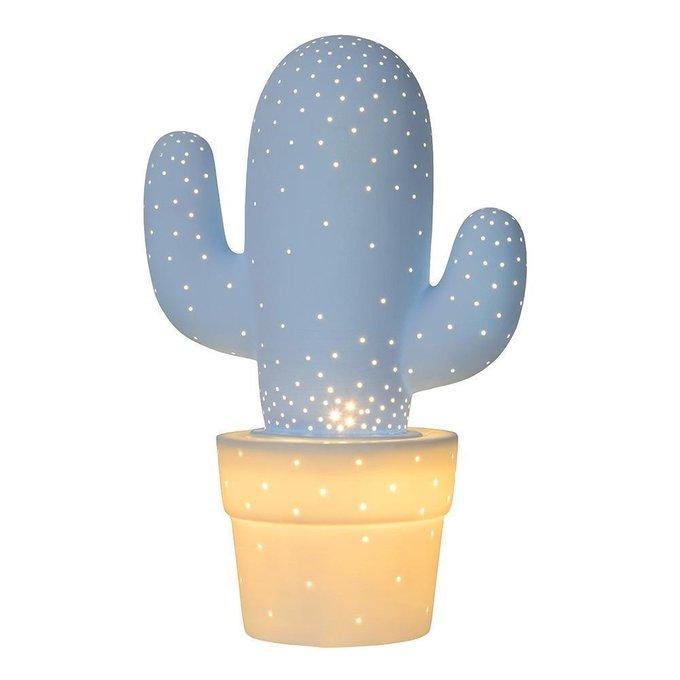 Настольная лампа Cactus с голубым плафоном