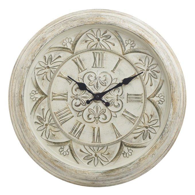 Настенный часы из пластика бежевого цвета