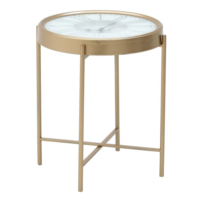 Кофейный столик с часами золотого цвета