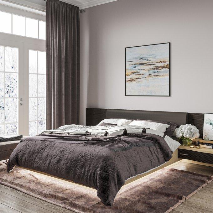 Кровать Элеонора 140х200 с изголовьем черного цвета и подъемным механизмом
