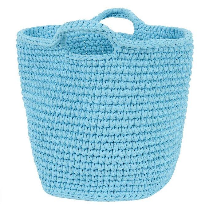 Вязаная корзина большая с ручками голубого цвета