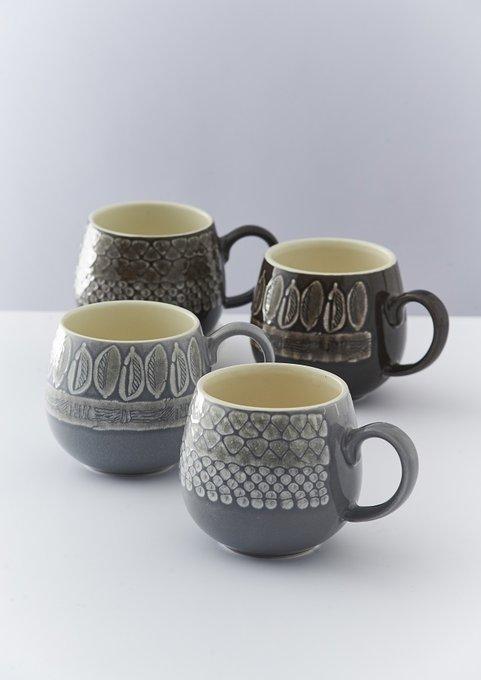 Чашка Impressions leaf серого цвета