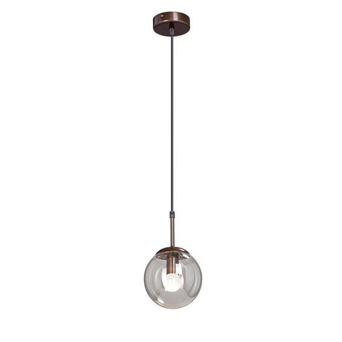 Подвесной светильник со стеклянным плафоном коньячного цвета