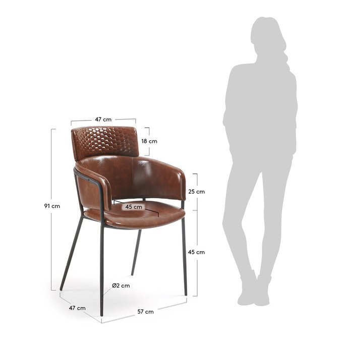 Кресло Rhett коричневого цвета