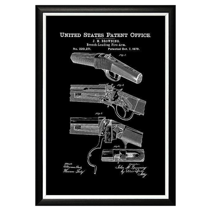 Арт-постер Патент Джона Браунинга на пистолет 1879