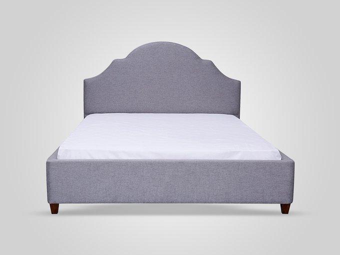 Кровать с обивкой из ткани серого цвета 180X200