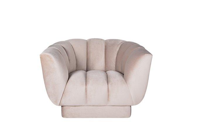 Кресло Fabio с обивкой из велюра бежево-серое
