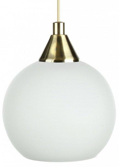 Подвесной светильник из латуни с плафоном белого цвета