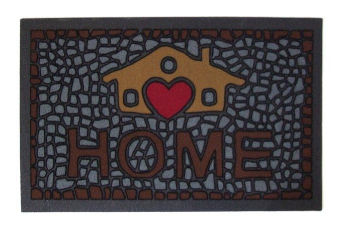 Придверный коврик коричнево-серого цвета 40х68
