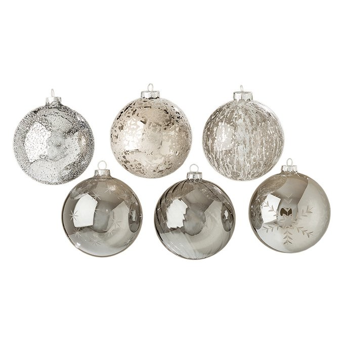 Новогодний шар Grey сет 6 шт из стекла