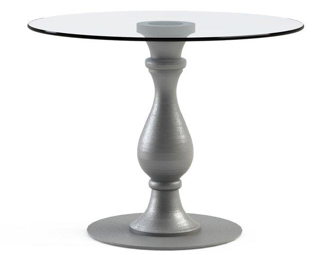 """Обеденный столик """"ADVENTUS Silver"""" с круглой столешницей из закаленного стекла"""