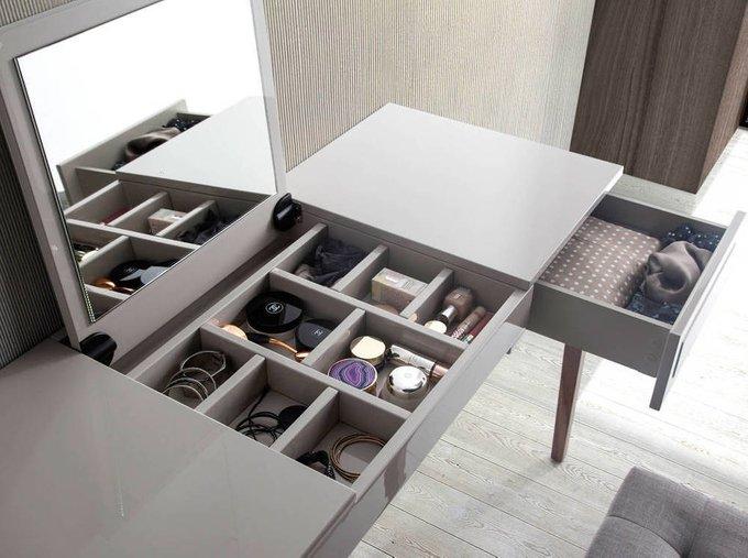 Туалетный столик серого цвета с выдвижным ящиком