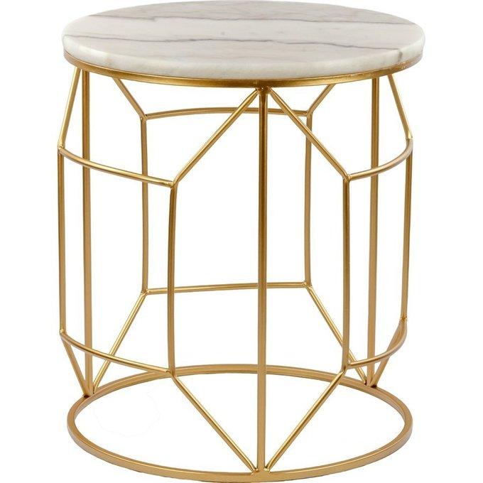Кофейный столик с мраморной столешницей белого цвета