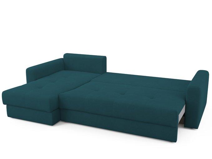 Угловой диван-кровать левый Ruiz сине-зеленого цвета