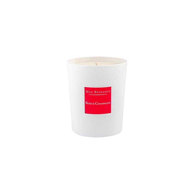 Ароматическая свеча в стакане Rose & Champagne белого цвета