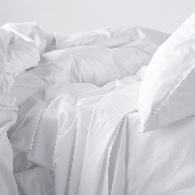 Комплект постельного белья евро с простыней на резинке 160х200 белый
