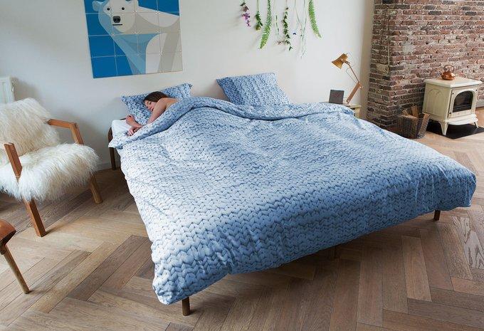 """Комплект постельного белья """"Косичка"""" синий Фланель 200х220"""