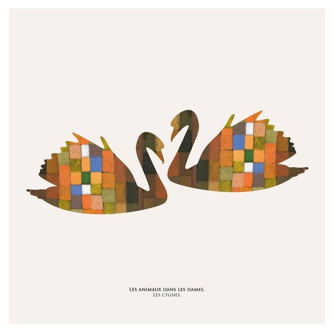 Картина (репродукция, постер): Лебеди в шашках