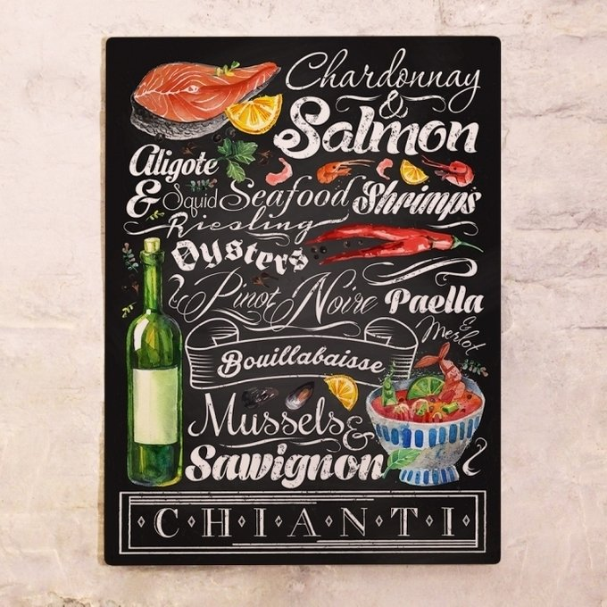 Металлический плакат Вино и морепродукты