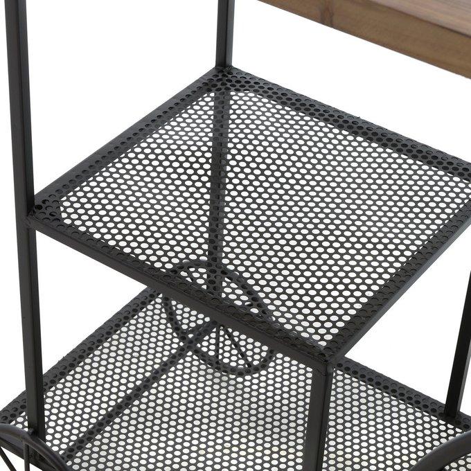 Стол-консоль из дерева и металла на колесах