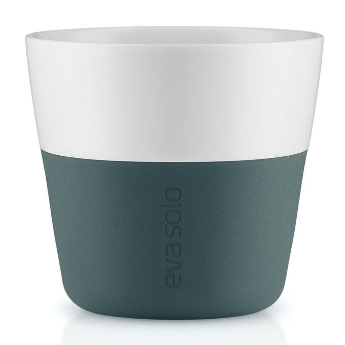 Набор из двух чашек для лунго с силиконовым чехлом бирюзово-синих