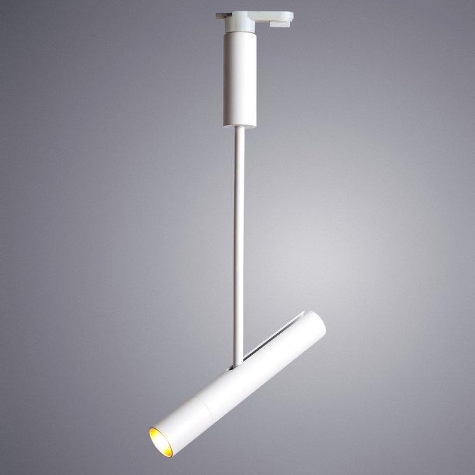 Трековый светодиодный светильник из металла белого цвета