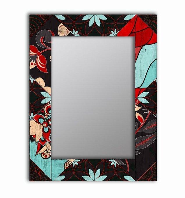 Настенное зеркало Весенние цветы в раме из массива сосны 55х55