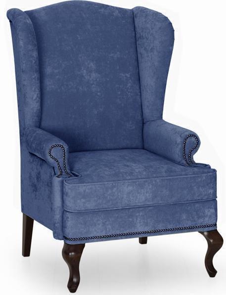 Кресло английское Биг Бен с ушками дизайн 17 темно-синего цвета