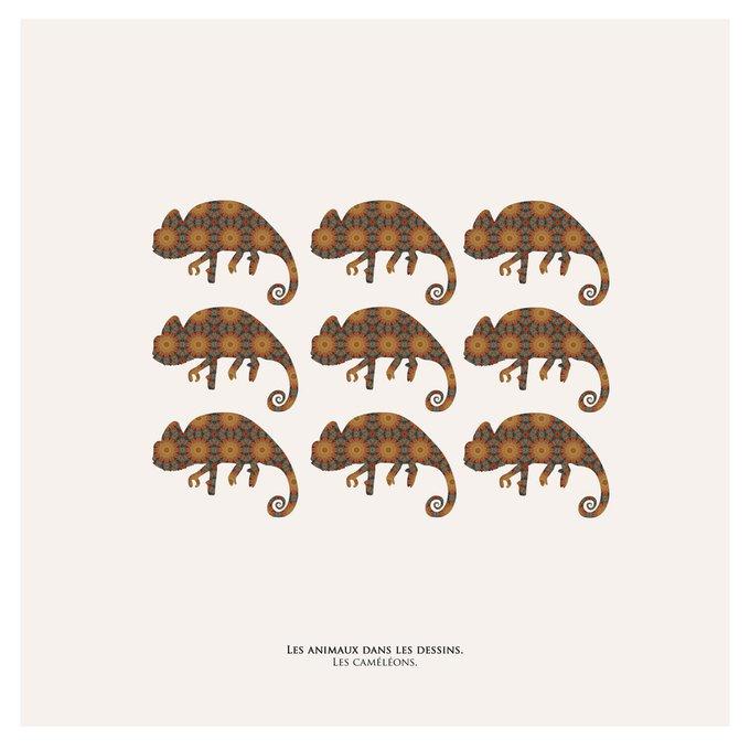 Картина (репродукция, постер): Хамелеоны в узоре
