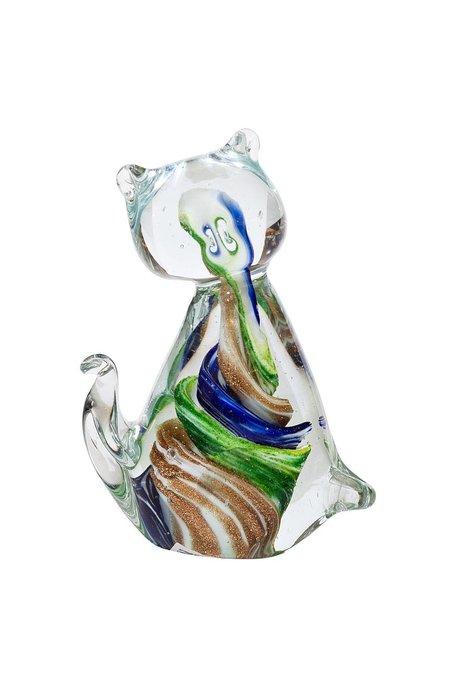 """Декоративная стеклянная статуэтка """"Кошка"""" маленькая разноцветная"""