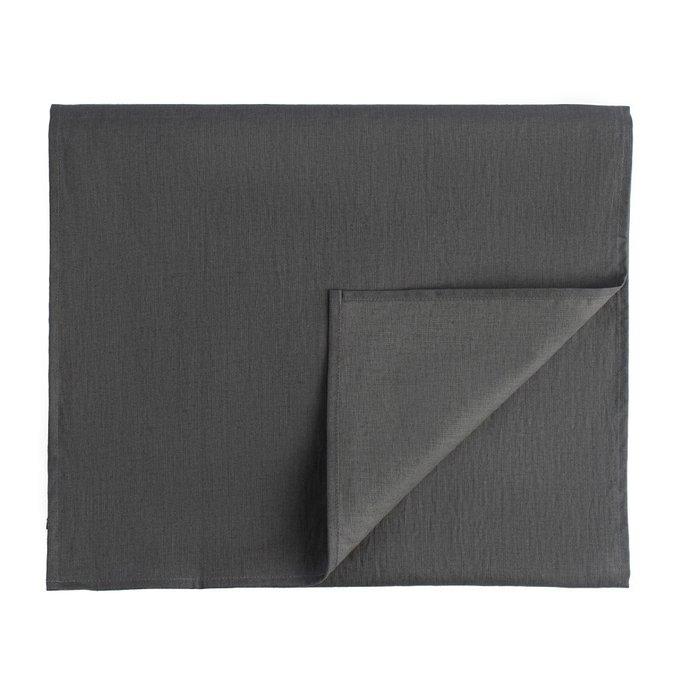 Дорожка на стол из умягченного льна с декоративной обработкой темно-серого цвета