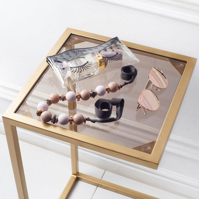 Прикроватный столик со столешницей из бронзового стекла