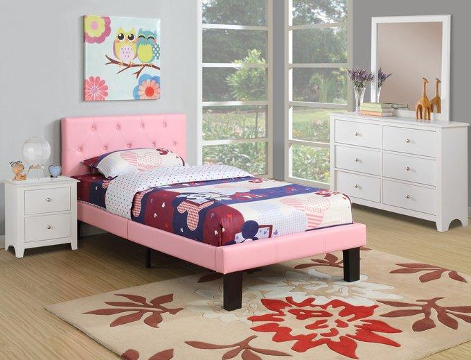 Кровать Poundex Faux Leather розового цвета 140х200
