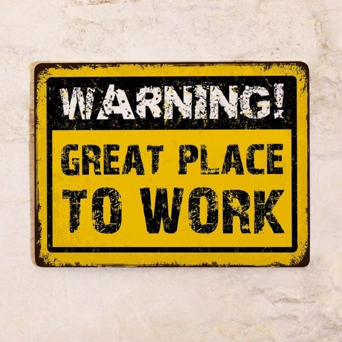 Декоративная табличка Warning! для рабочего места 30х40