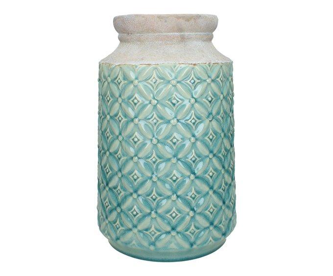 Керамическая ваза голубого цвета